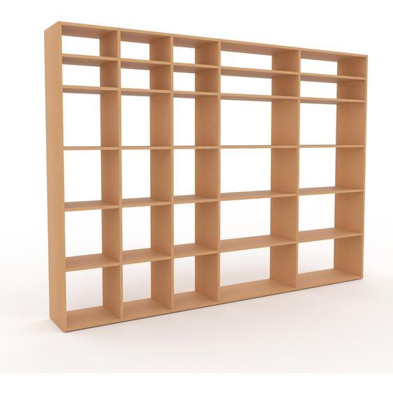 Bibliotheksregal Buche, Holz - Individuelles Regal für Bibliothek: Einzigartiges Design - 267 x 195 x 35 cm, konfigurierbar