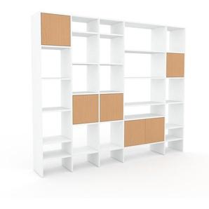 Bibliotheksregal Weiß - Individuelles Regal für Bibliothek: Türen in Buche - 231 x 195 x 35 cm, konfigurierbar