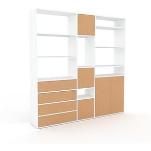 Bibliotheksregal Weiß - Modernes Regal für Bibliothek: Schubladen in Buche & Türen in Buche - 190 x 195 x 35 cm, konfigurierbar