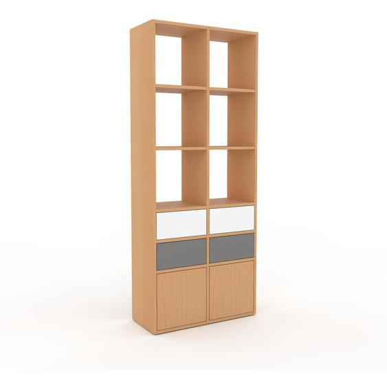Bibliotheksregal Buche - Modernes Regal für Bibliothek: Schubladen in Grau & Türen in Buche - 79 x 195 x 35 cm, konfigurierbar