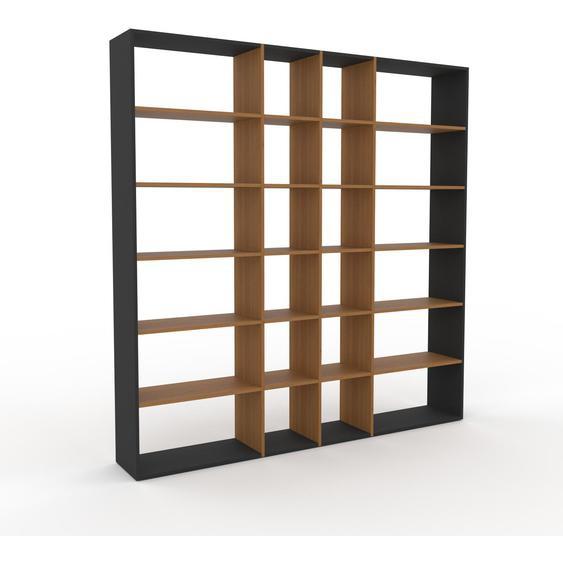 Bibliotheksregal Eiche, Holz - Individuelles Regal für Bibliothek: Einzigartiges Design - 229 x 233 x 35 cm, konfigurierbar