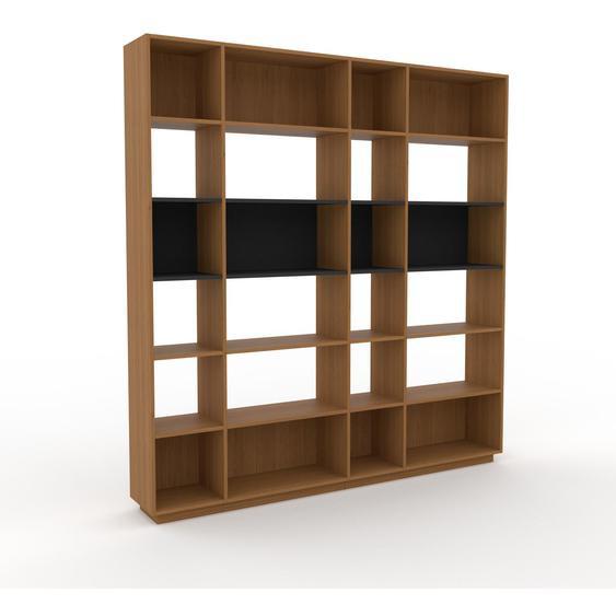 Bibliotheksregal Eiche, Holz - Individuelles Regal für Bibliothek: Einzigartiges Design - 229 x 239 x 35 cm, konfigurierbar