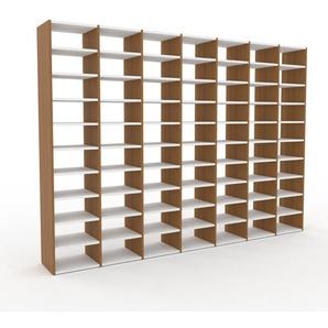 Bibliotheksregal Eiche, Holz - Individuelles Regal für Bibliothek: Einzigartiges Design - 272 x 195 x 35 cm, konfigurierbar