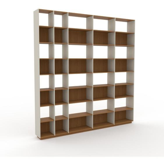 Bibliotheksregal Eiche, Holz - Individuelles Regal für Bibliothek: Einzigartiges Design - 303 x 316 x 35 cm, konfigurierbar