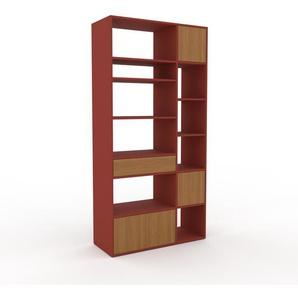 Bibliotheksregal Rot - Modernes Regal für Bibliothek: Schubladen in Eiche & Türen in Eiche - 116 x 233 x 47 cm, konfigurierbar