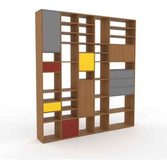 Bibliotheksregal Eiche - Modernes Regal für Bibliothek: Schubladen in Grau & Türen in Eiche - 231 x 253 x 35 cm, konfigurierbar