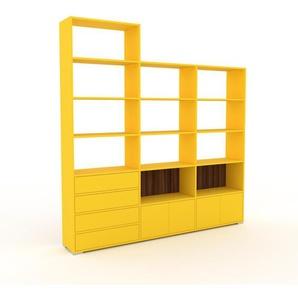 Bibliotheksregal Gelb - Modernes Regal für Bibliothek: Schubladen in Gelb & Türen in Gelb - 226 x 235 x 35 cm, konfigurierbar