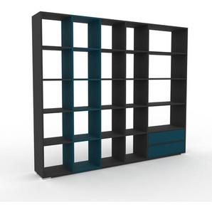Bibliotheksregal Anthrazit - Individuelles Regal für Bibliothek: Schubladen in Blau - 231 x 196 x 35 cm, konfigurierbar
