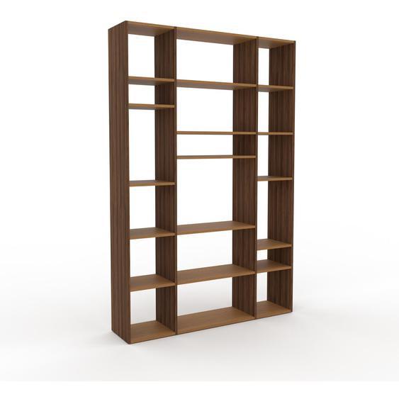 Bibliotheksregal Nussbaum, Holz - Individuelles Regal für Bibliothek: Einzigartiges Design - 154 x 233 x 35 cm, konfigurierbar