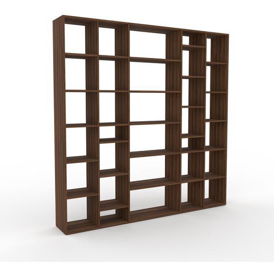 Bibliotheksregal Nussbaum, Holz - Individuelles Regal für Bibliothek: Einzigartiges Design - 231 x 233 x 35 cm, konfigurierbar