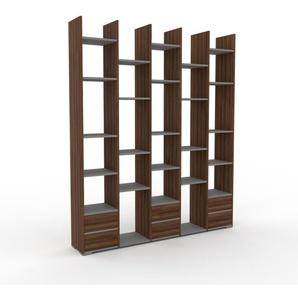 Bibliotheksregal Nussbaum - Individuelles Regal für Bibliothek: Schubladen in Nussbaum - 195 x 235 x 35 cm, konfigurierbar