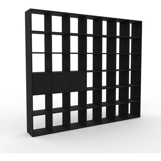 Bibliotheksregal Schwarz - Individuelles Regal für Bibliothek: Türen in Schwarz - 272 x 233 x 35 cm, konfigurierbar