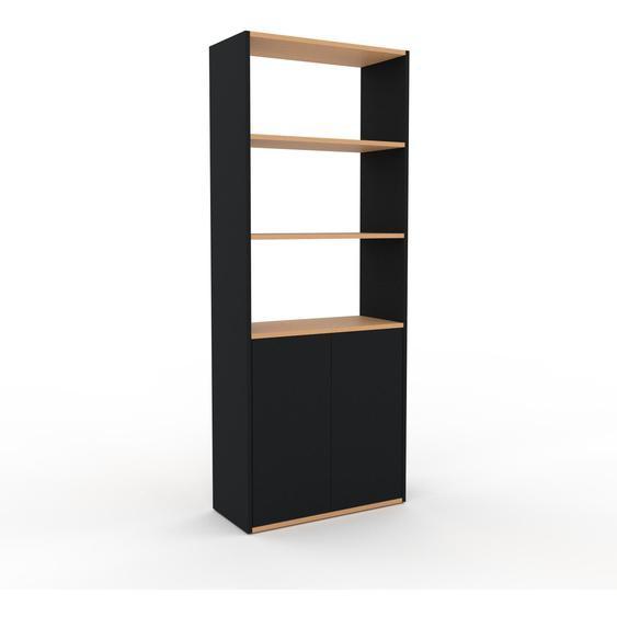 Bibliotheksregal Schwarz - Individuelles Regal für Bibliothek: Türen in Schwarz - 77 x 195 x 35 cm, konfigurierbar