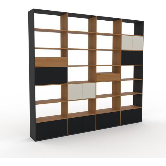 Bibliotheksregal Schwarz - Modernes Regal für Bibliothek: Schubladen in Eiche & Türen in Schwarz - 301 x 272 x 35 cm, konfigurierbar