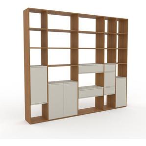 Bibliotheksregal Eiche - Modernes Regal für Bibliothek: Schubladen in Nebelgrün & Türen in Nebelgrün - 267 x 233 x 35 cm, konfigurierbar
