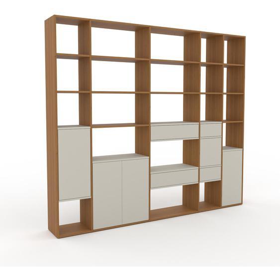 Bibliotheksregal Taupe - Modernes Regal für Bibliothek: Schubladen in Taupe & Türen in Taupe - 267 x 233 x 35 cm, konfigurierbar