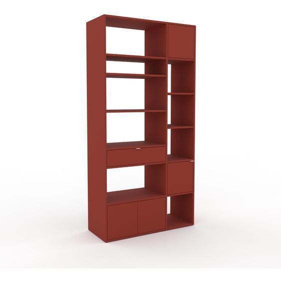 Bibliotheksregal Terrakotta - Modernes Regal für Bibliothek: Schubladen in Terrakotta & Türen in Terrakotta - 116 x 233 x 47 cm, konfigurierbar
