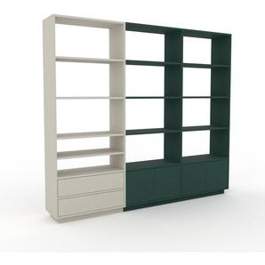 Bibliotheksregal Nebelgrün - Modernes Regal für Bibliothek: Schubladen in Nebelgrün & Türen in Tannengrün - 226 x 200 x 35 cm, konfigurierbar
