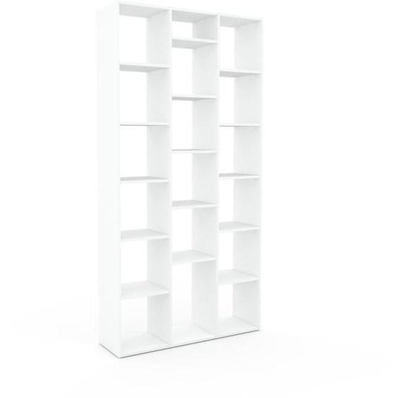 Bibliotheksregal Weiß - Individuelles Regal für Bibliothek: Einzigartiges Design - 118 x 233 x 35 cm, konfigurierbar