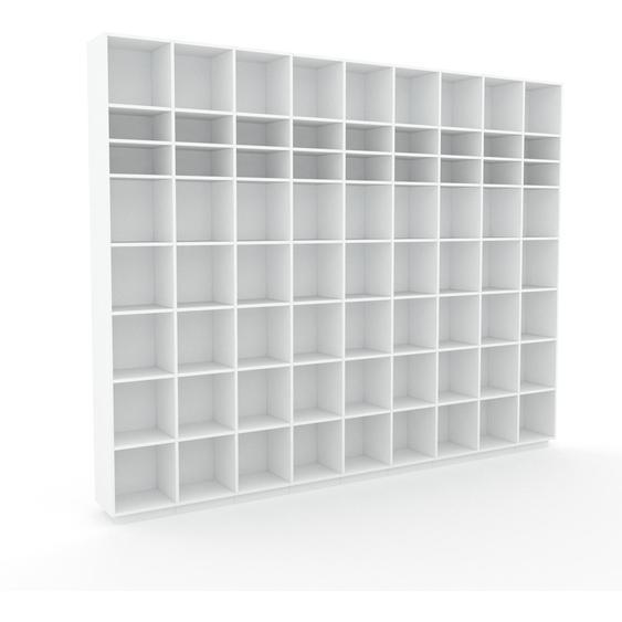 Bibliotheksregal Weiß - Individuelles Regal für Bibliothek: Einzigartiges Design - 349 x 277 x 35 cm, konfigurierbar
