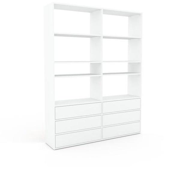 Bibliotheksregal Weiß - Individuelles Regal für Bibliothek: Schubladen in Weiß - 152 x 195 x 35 cm, konfigurierbar