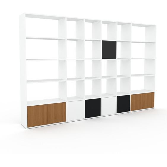 Bibliotheksregal Weiß - Individuelles Regal für Bibliothek: Türen in Eiche - 306 x 195 x 35 cm, konfigurierbar