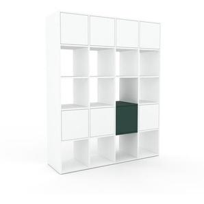 Bibliotheksregal Weiß - Individuelles Regal für Bibliothek: Türen in Weiß - 156 x 195 x 47 cm, konfigurierbar