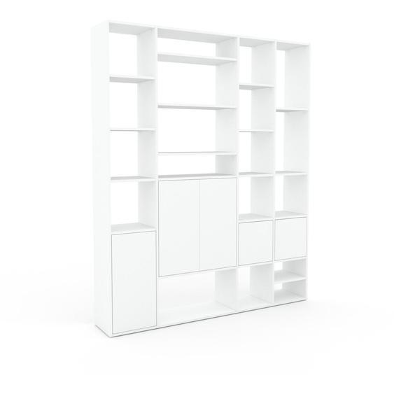 Bibliotheksregal Weiß - Individuelles Regal für Bibliothek: Türen in Weiß - 193 x 233 x 35 cm, konfigurierbar