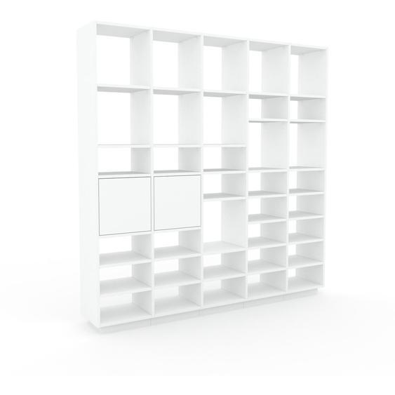 Bibliotheksregal Weiß - Individuelles Regal für Bibliothek: Türen in Weiß - 195 x 200 x 35 cm, konfigurierbar