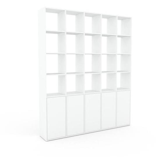 Bibliotheksregal Weiß - Individuelles Regal für Bibliothek: Türen in Weiß - 195 x 233 x 35 cm, konfigurierbar