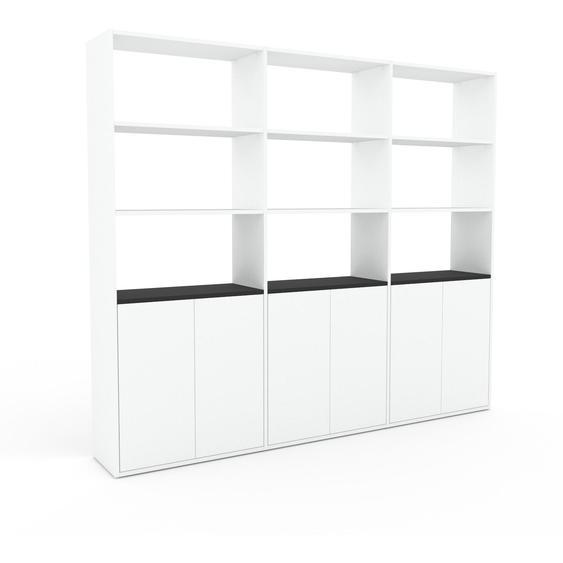 Bibliotheksregal Weiß - Individuelles Regal für Bibliothek: Türen in Weiß - 226 x 195 x 35 cm, konfigurierbar
