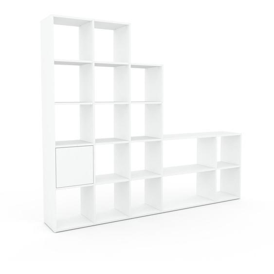 Bibliotheksregal Weiß - Individuelles Regal für Bibliothek: Türen in Weiß - 231 x 195 x 35 cm, konfigurierbar