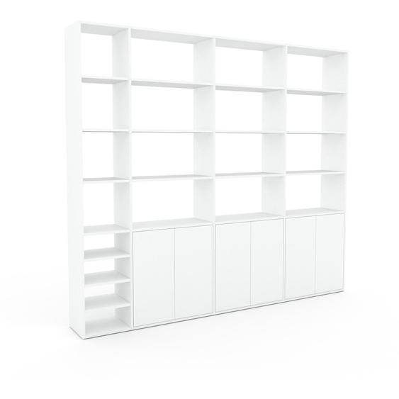 Bibliotheksregal Weiß - Individuelles Regal für Bibliothek: Türen in Weiß - 265 x 233 x 35 cm, konfigurierbar