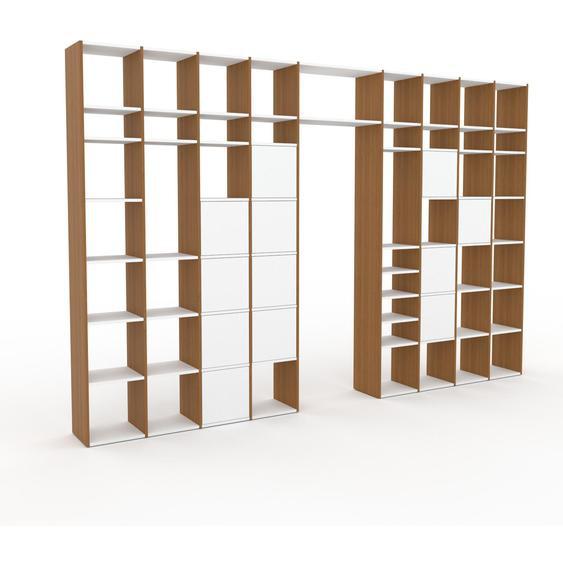 Bibliotheksregal Weiß - Individuelles Regal für Bibliothek: Türen in Weiß - 385 x 253 x 35 cm, konfigurierbar