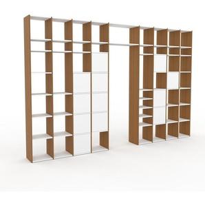 Bibliotheksregal Eiche - Individuelles Regal für Bibliothek: Türen in Weiß - 385 x 253 x 35 cm, konfigurierbar