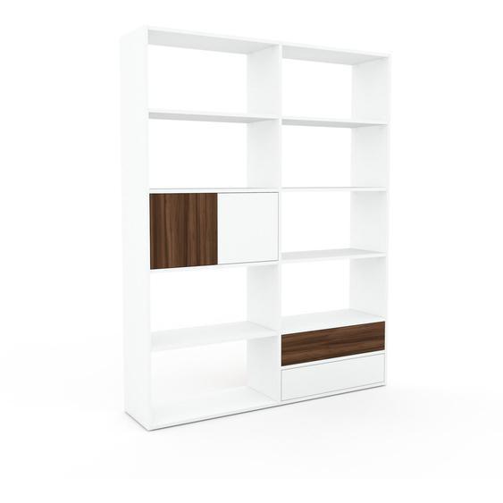 Bibliotheksregal Weiß - Modernes Regal für Bibliothek: Schubladen in Weiß & Türen in Nussbaum - 152 x 195 x 35 cm, konfigurierbar