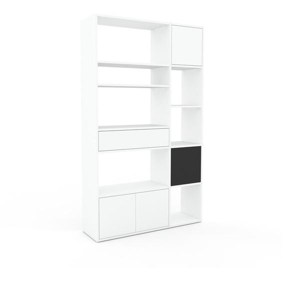 Bibliotheksregal Weiß - Modernes Regal für Bibliothek: Schubladen in Weiß & Türen in Weiß - 116 x 195 x 35 cm, konfigurierbar
