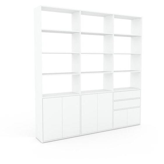 Bibliotheksregal Weiß - Modernes Regal für Bibliothek: Schubladen in Weiß & Türen in Weiß - 226 x 233 x 35 cm, konfigurierbar