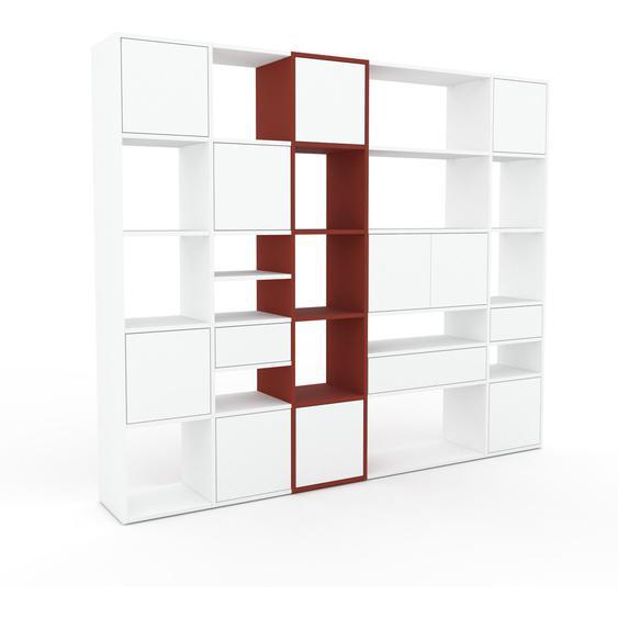 Bibliotheksregal Weiß - Modernes Regal für Bibliothek: Schubladen in Weiß & Türen in Weiß - 231 x 195 x 35 cm, konfigurierbar