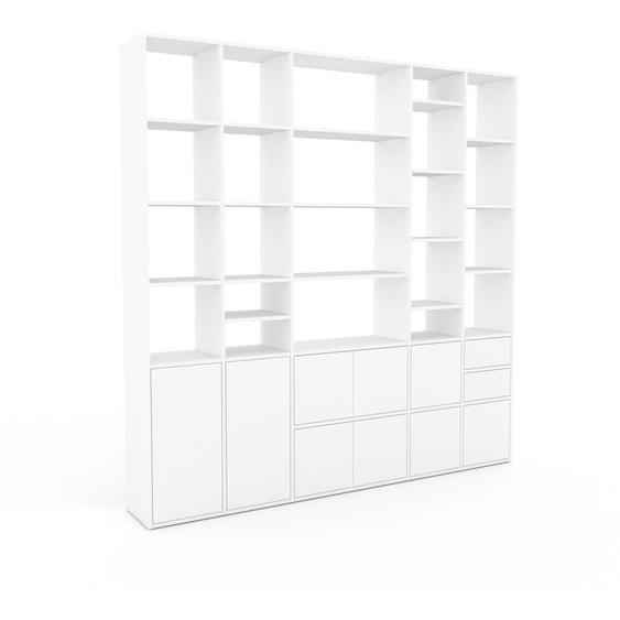 Bibliotheksregal Weiß - Modernes Regal für Bibliothek: Schubladen in Weiß & Türen in Weiß - 231 x 233 x 35 cm, konfigurierbar