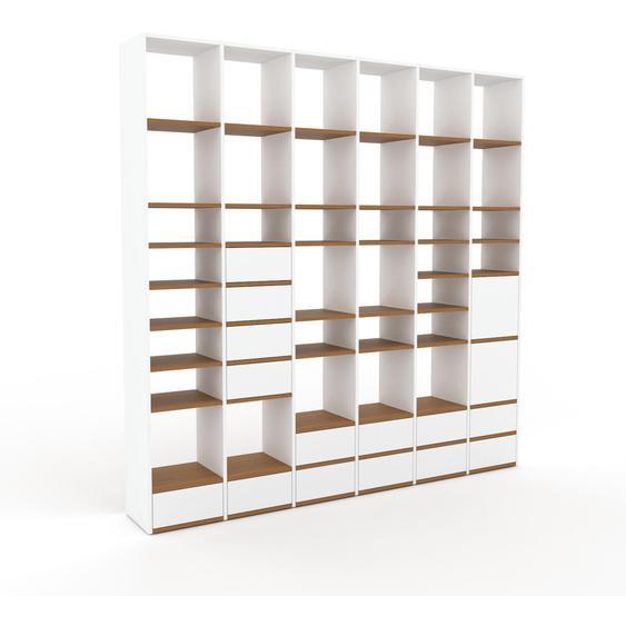 Bibliotheksregal Weiß - Modernes Regal für Bibliothek: Schubladen in Weiß & Türen in Weiß - 233 x 233 x 35 cm, konfigurierbar