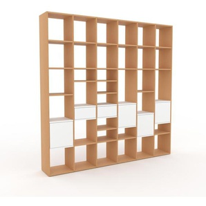 Bibliotheksregal Buche - Modernes Regal für Bibliothek: Schubladen in Weiß & Türen in Weiß - 233 x 233 x 35 cm, konfigurierbar