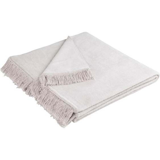 BIEDERLACK Sesselschoner Cotton Cover, mit Fransen B/L: 50 cm x 200 silberfarben Hussen Überwürfe