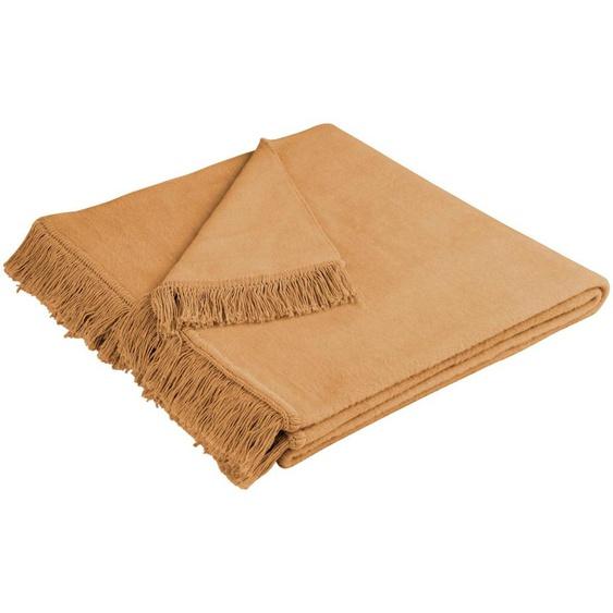 BIEDERLACK Sofaschoner Cotton Cover, mit Fransen versehen 100x200 cm, Baumwolle-Kunstfaser beige Sofaüberwürfe Hussen Überwürfe Sesselschoner