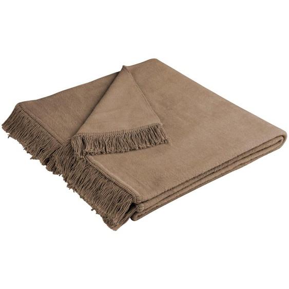 BIEDERLACK Sofaschoner Cotton Cover, mit Fransen versehen B/L: 100 cm x 200 braun Sofaüberwürfe Hussen Überwürfe