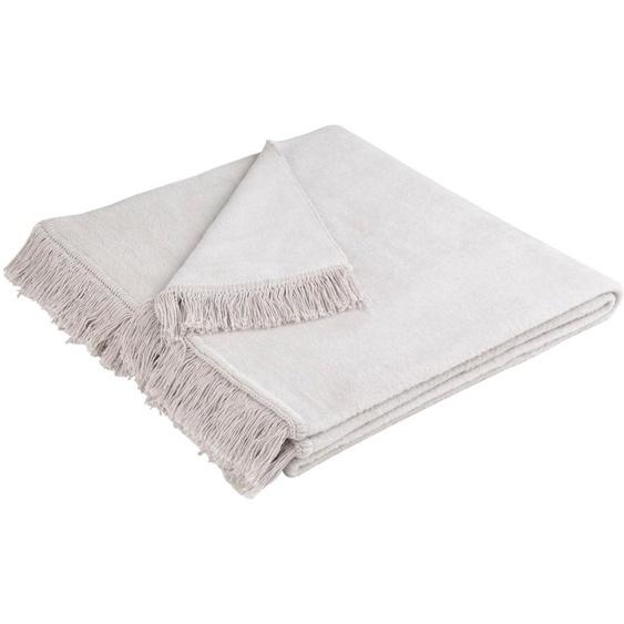 BIEDERLACK Sofaschoner Cotton Cover, mit Fransen versehen B/L: 100 cm x 200 grau Sofaüberwürfe Hussen Überwürfe