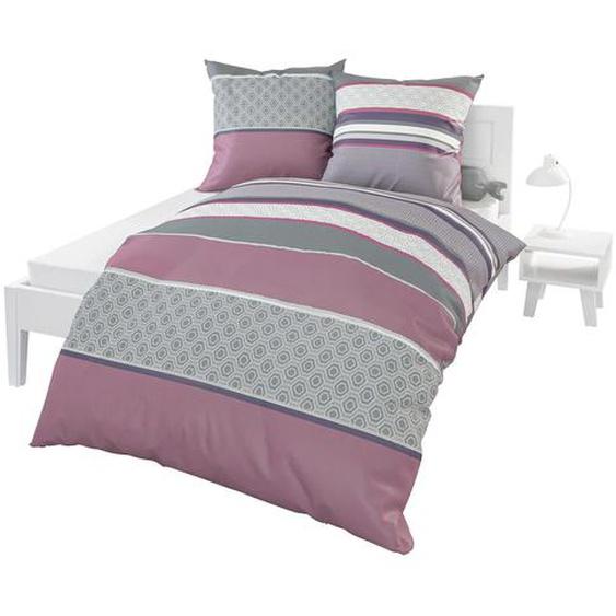 BIERBAUM Bettwäsche 155 cm x 200 cm, Mako-Satin, 80 lila 135x200 nach Größe Bettwäsche, Bettlaken und Betttücher
