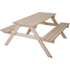 Biergarten-Garnitur Narvik, Picknick-Set, Holz Gastroqualitt massiv 148x150cm
