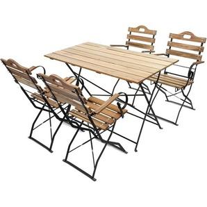 Biergarten-Garnitur Wien, Bistro-/Garten-Set, Gastronomie-Qualität klappbar Akazie lackiert ~ natur - HHG