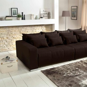 Big Sofa in braun mit einer Polyätherschaum-Polsterung, Schlaffunktion, 4 große, 4 mittlere und 4 kleine Kissen,  B/H/T ca. 294/88/146 cm